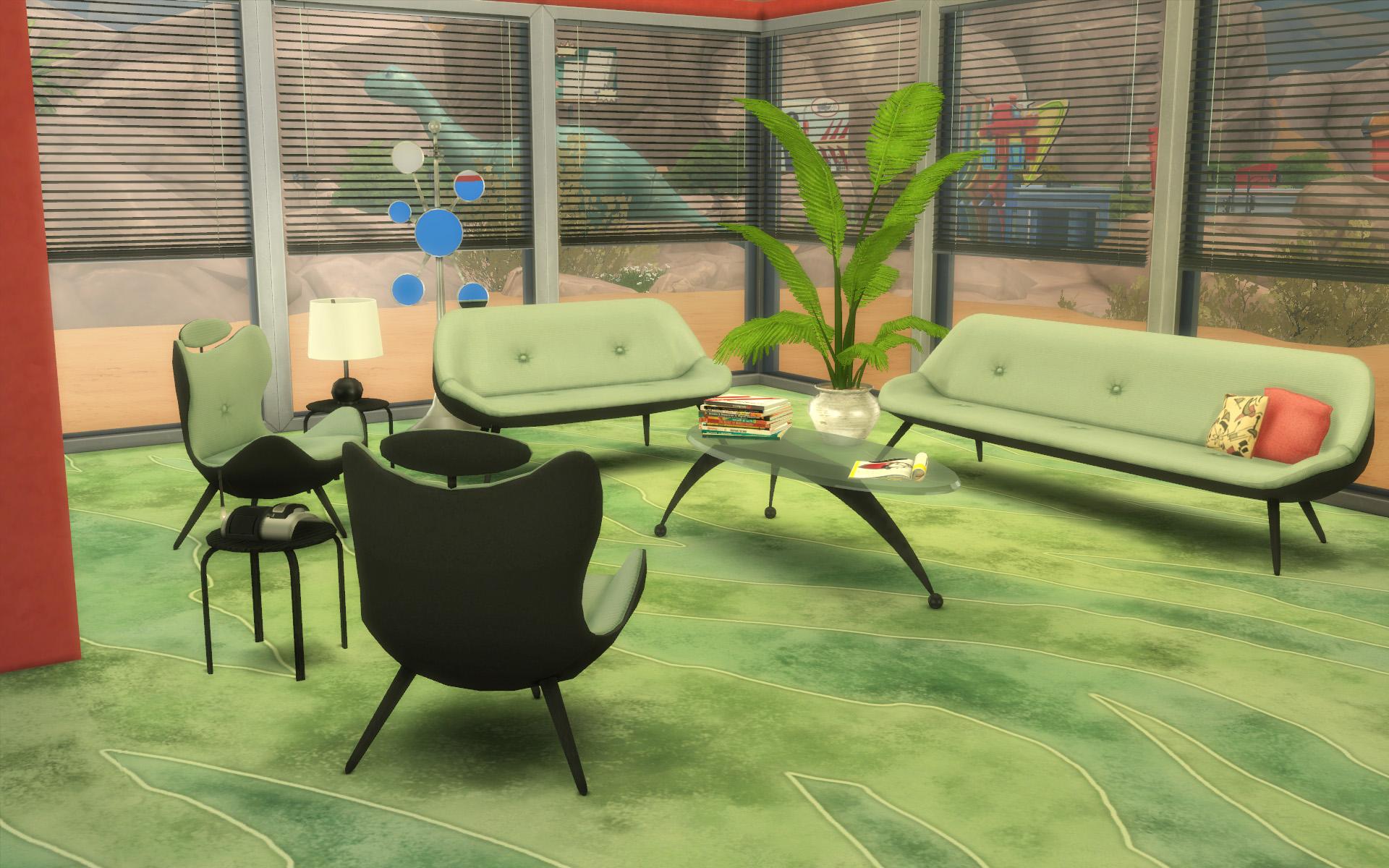 mod the sims ts2 to ts4 60s living room set