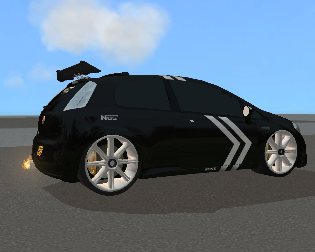 Mod The Sims Recolour of VampCats Fiat Punto with working Exhaust Flames