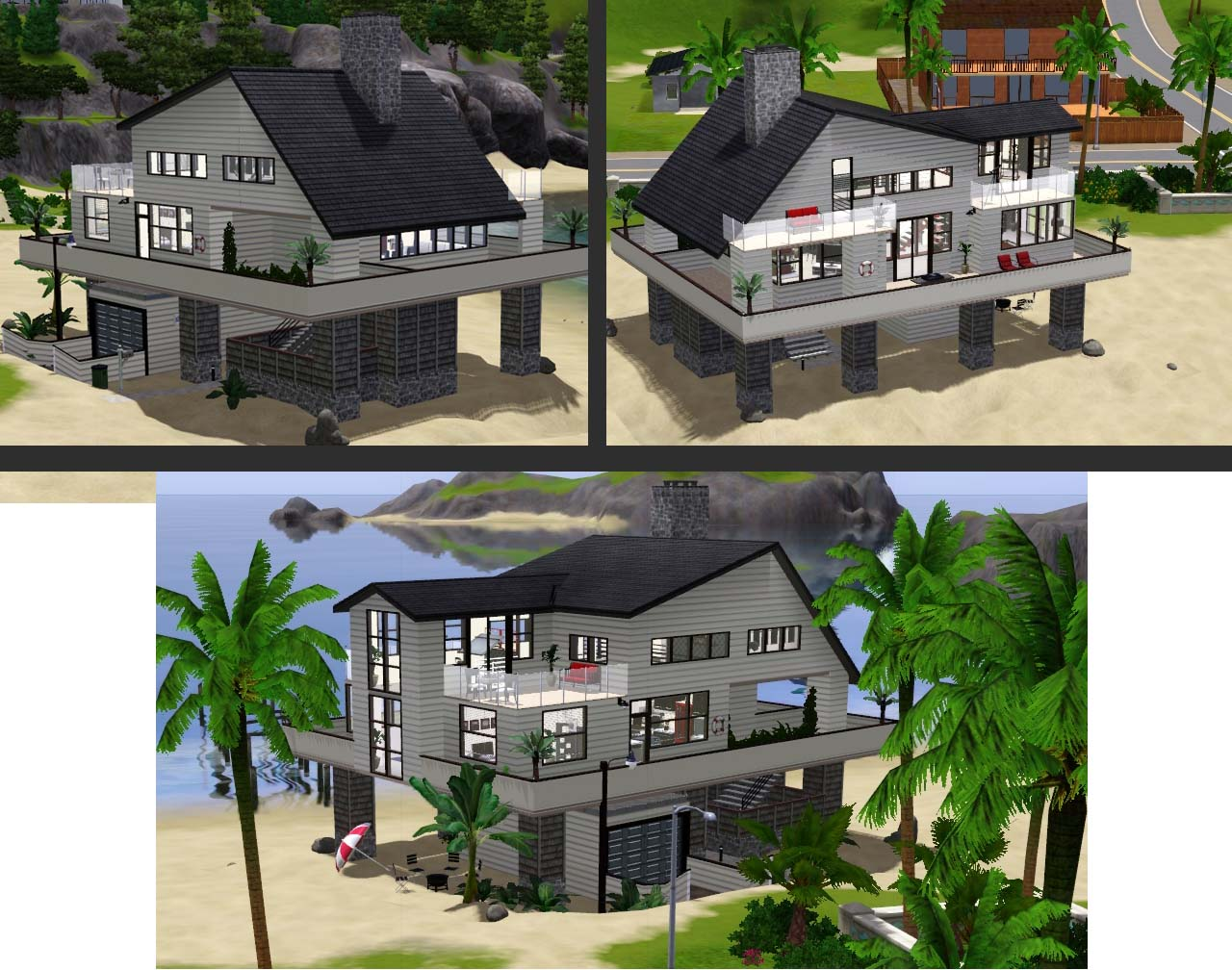 Mod the sims modern villa 3 modern beach villa for Beach house plans on pylons