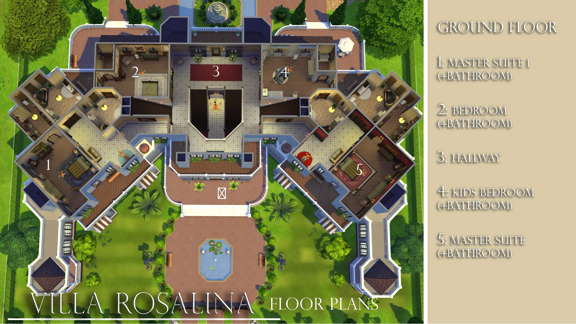 Mod the sims villa rosalina no cc for Sims 4 floor plans