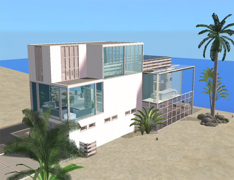 Mod the sims 51 ocean drive a modern beach house for Beach house plans sims 3
