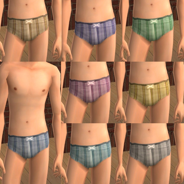 Mod The Sims - Striped swimming trunks and matching speedos for Teen Males.