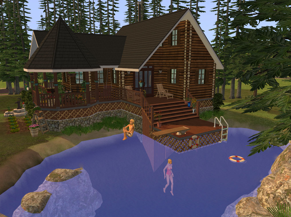 Mod the sims foundation challenge log cabin by the lake for Off grid cabin foundation