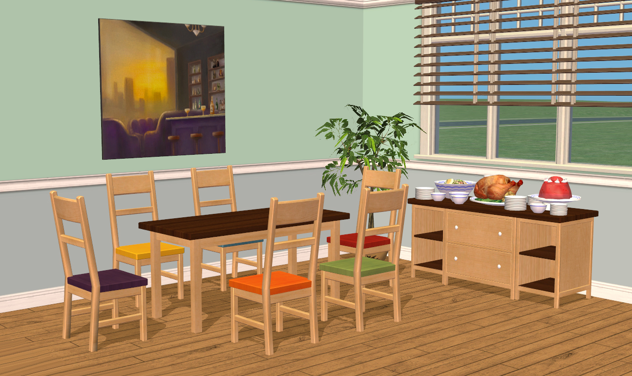 Mod the sims smallhouse models dining room set Kitchen table in living room