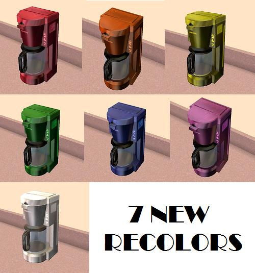 Colorful Coffee Maker Kohl S : Mod The Sims - Extra Pep Coffeemaker in 7 New Colors