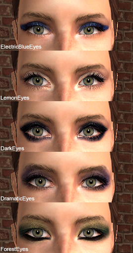 pictures of eyeshadow styles. The five styles are dark,