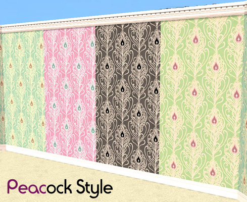 Mod The Sims - Peacock Feather Style Wallpaper
