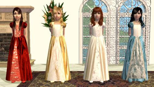 Mod The Sims - Four silk princess dresses for children