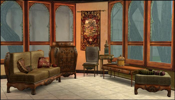 Sala de estar antiga pacote de objetos for Sala de estar sims 4