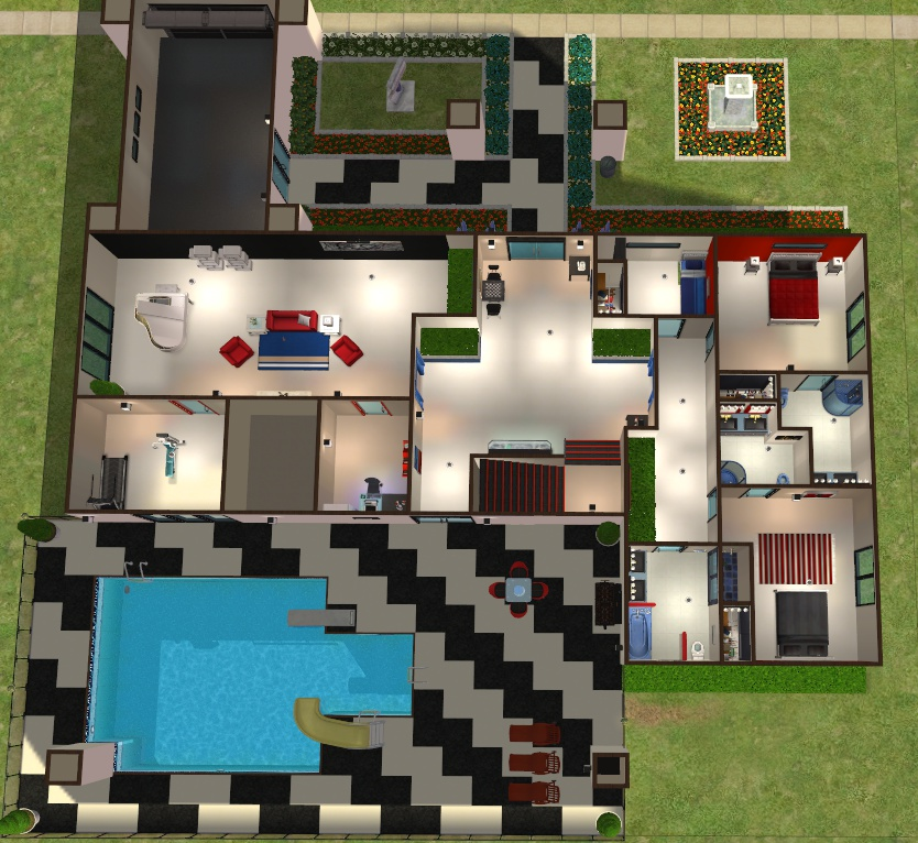 Mod the sims lego house in two colour ways - Lego house interior ...