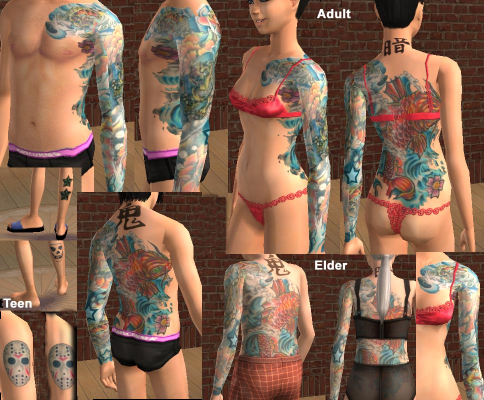 Mod The Sims - Japanese Water Tattoo skin