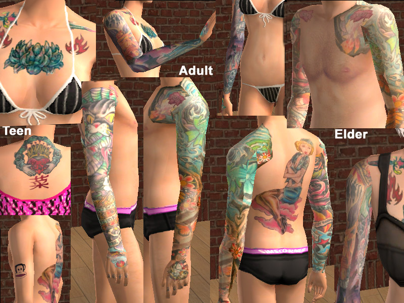 Mod The Sims - Rockstar Tattoo Skin Male-Female
