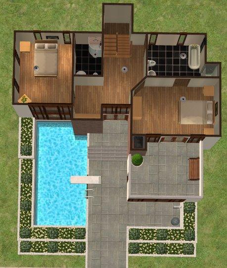 Mod the sims casa moderna 2 bed 3 bath modern family for Casa moderna sims 3 sin expansiones