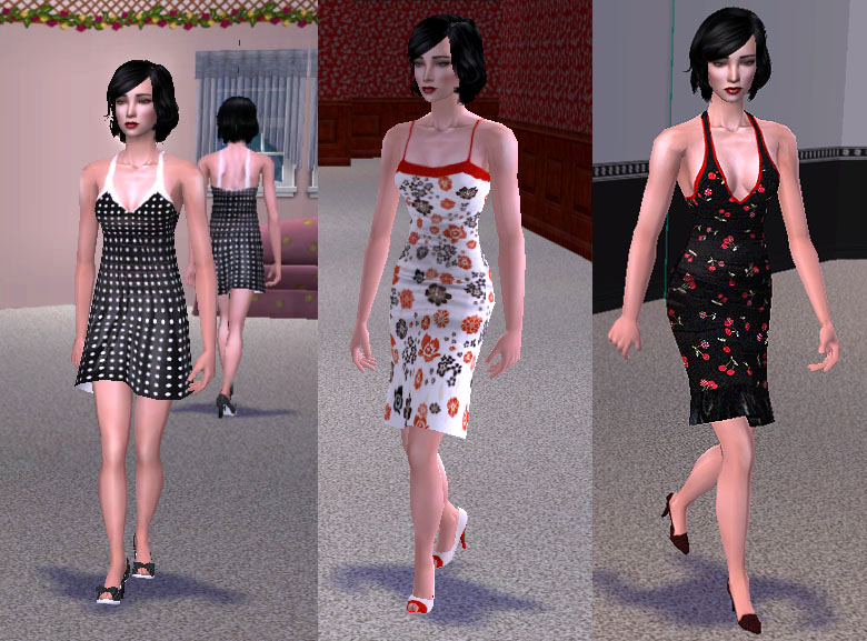 Mod The Sims - 3 Traditional Pinup Dresses