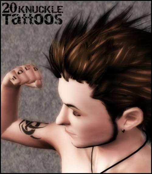 Mod The Sims - 20 KNUCKLE TATTOOS (Recolorable, Teen-Elder, Both Gender)