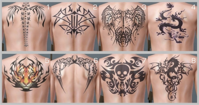 Mod The Sims - 8 Tribal Back Tattoos - Recolorable & For Both Genders (Teen