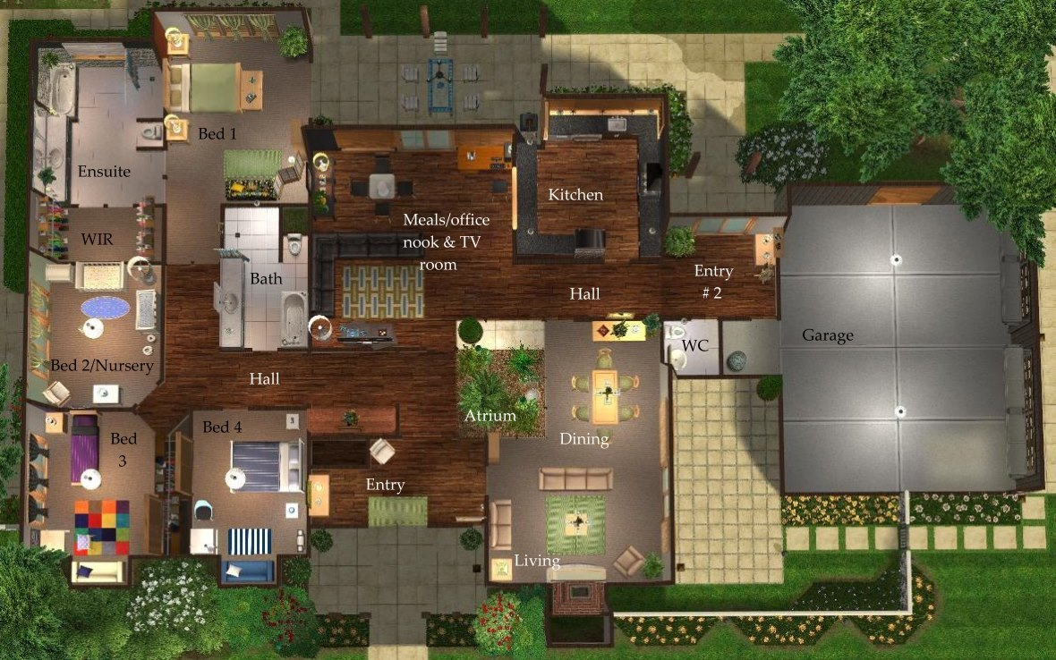 Mod The Sims - Contemporary Ranch - A Roomy 4 Bedroom Home