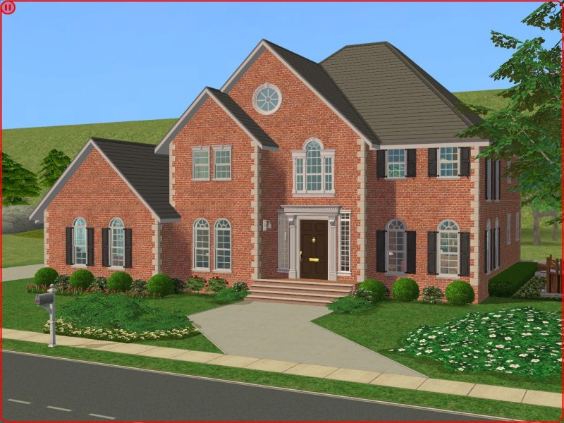 Mod the sims a 3 bedroom colonial style home for Sims 3 6 bedroom house