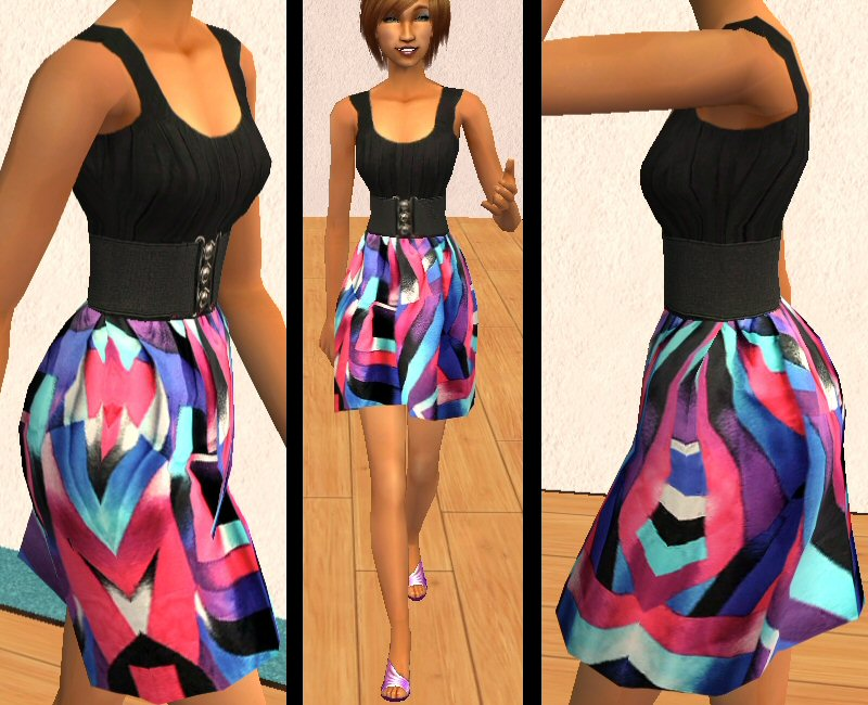Mod The Sims - Black dress with colourful abstract print skirt