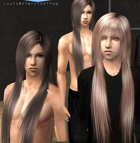 Mod The Sims - SimCribbling ~ Straight Silky Long Hairs for Male (mesh