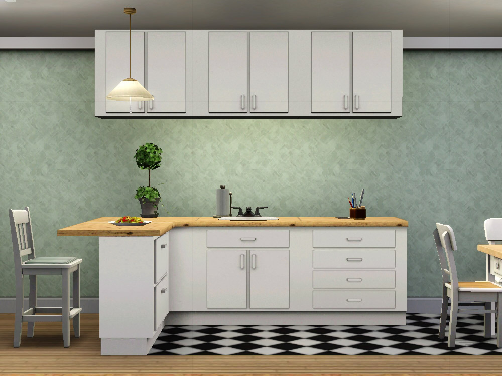 Mod the sims simple kitchen counters islands cabinets for Simple kitchen