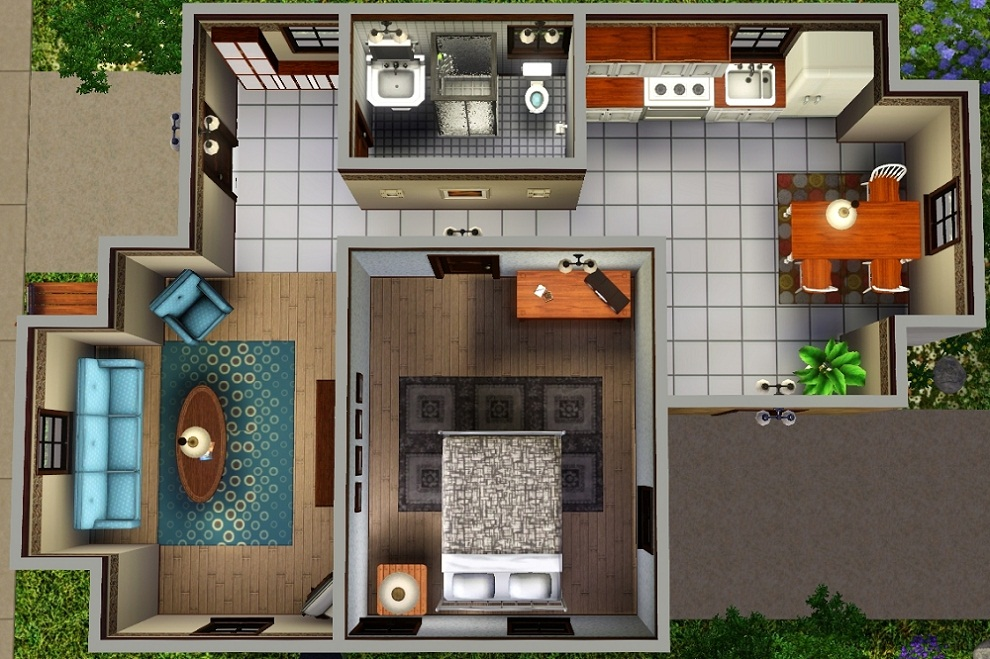 Mod the sims ledomus starter home plan 1 no cc for Mansion floor plans sims 4