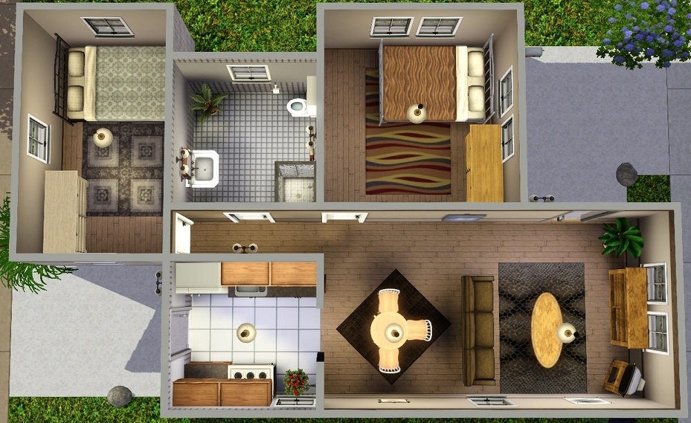 Mod the sims ledomus starter home plan 3 no cc for Small starter house plans