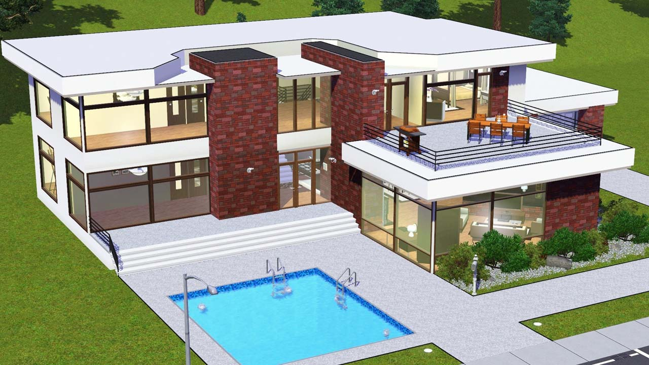 Sims freeplay house floor plans wood floors for Modern mansion blueprints