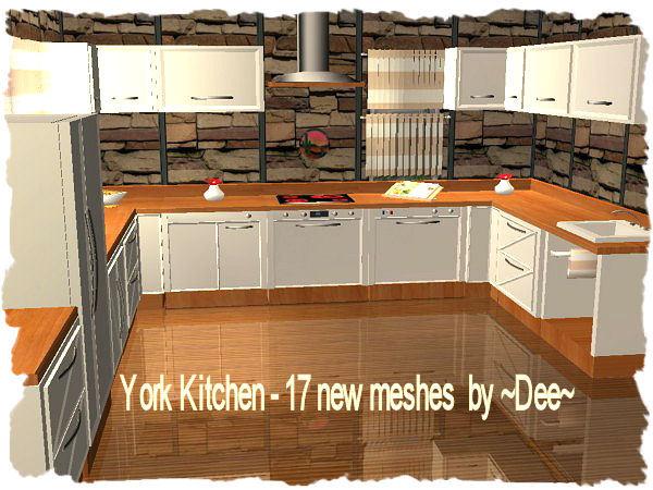 Mod the sims york kitchen for Modern kitchen sims 3