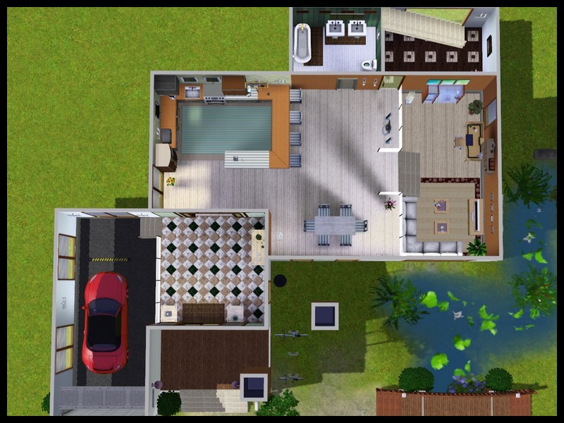 Mod The Sims Modern House With Little Bridge