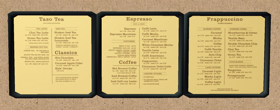 Starbucks Menu Prices 2011. Mod The Sims - Starbucks