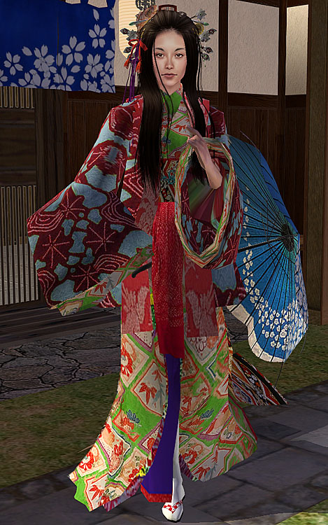 Mod The Sims Kimono Haori 緑midori