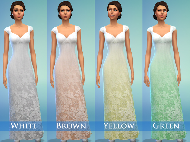 Sims 4 Wedding Dress.Mod The Sims Wedding Dress Set For Adult Female With 8 Colours