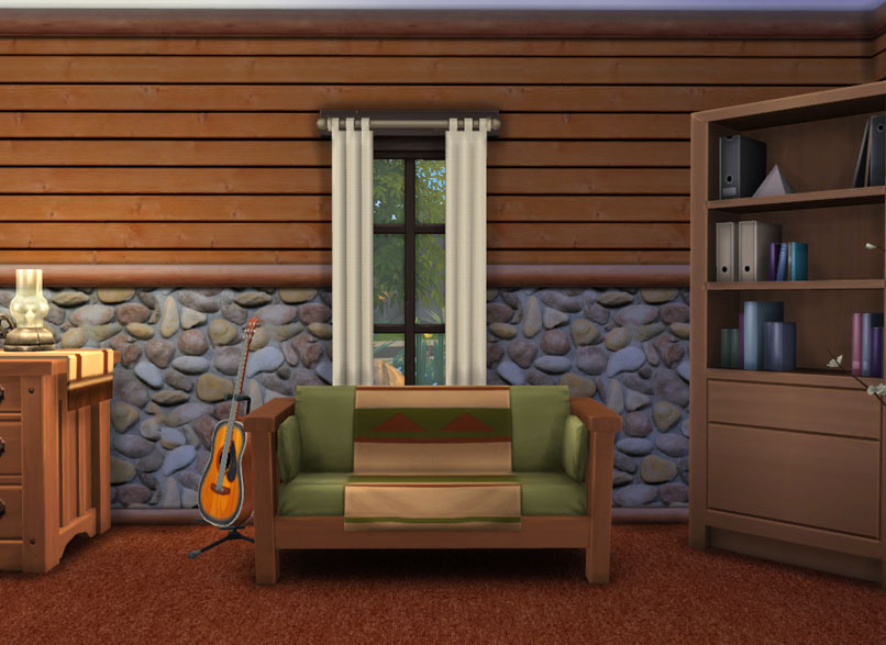 mod the sims log cabin interior wall set 18 colors. Black Bedroom Furniture Sets. Home Design Ideas