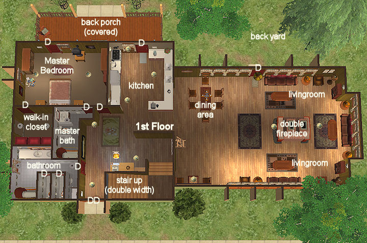 Mod the sims two story sleep wing leisure home 3 - How much to move a 4 bedroom house ...