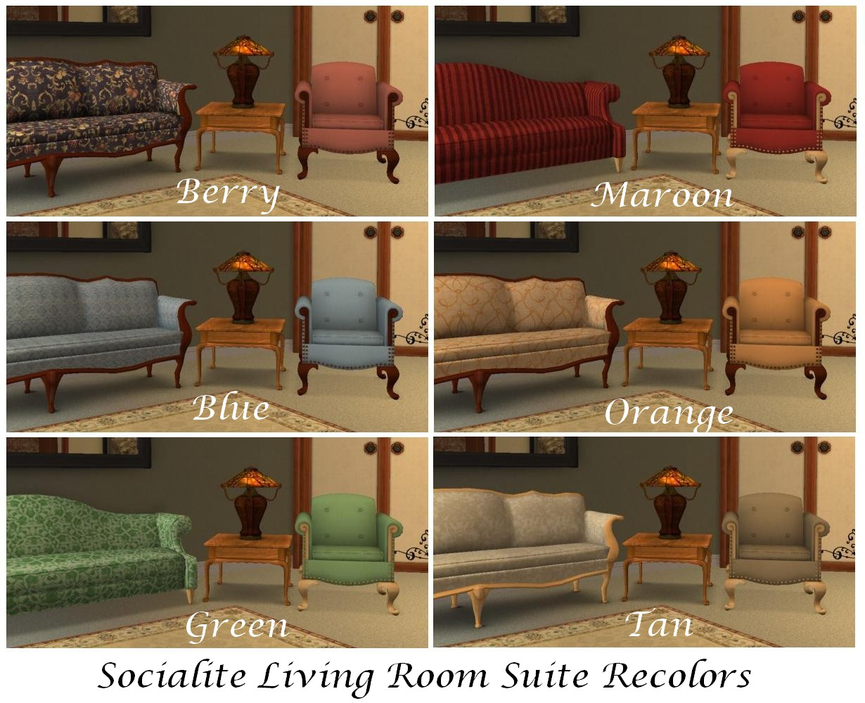 Mod the sims al socialite recolors sofa loveseat for 3 star living room chair sims