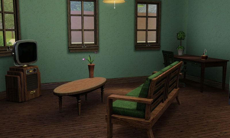 Mod the sims doll house au naturel no cc starter for Living room 4x3