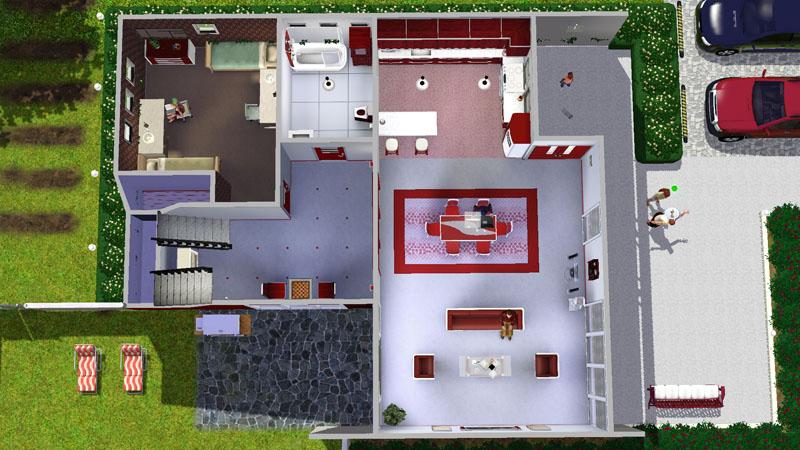 Mod the sims casa moderna rosso bigger non starter for Casas modernas sims 4 paso a paso