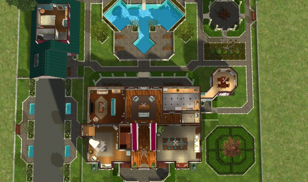 Mod the sims green hills mansion no cc for Mansion floor plans sims 3