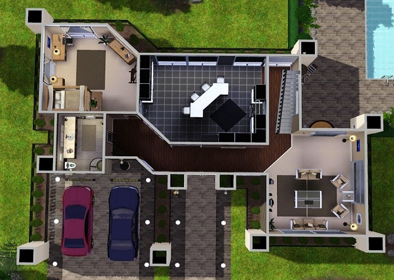 Modern house floor plans for sims 3 for Cool house plans for sims 3