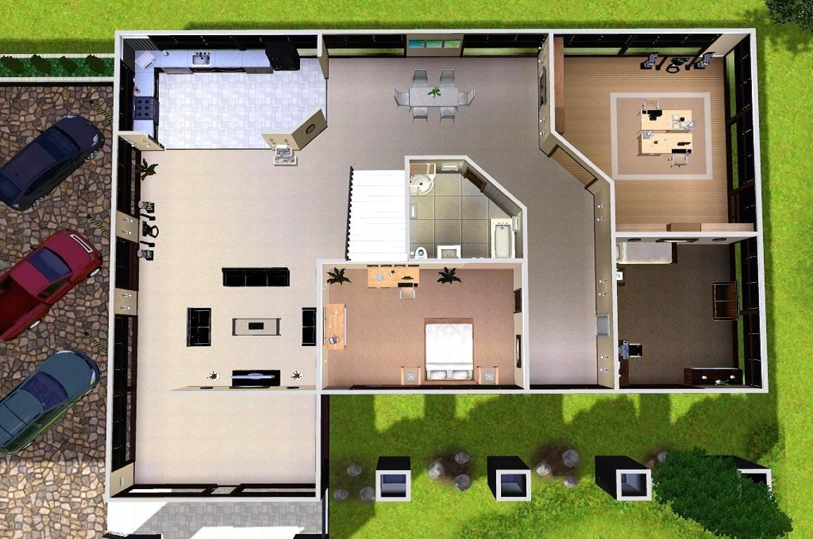 House plans and design modern house plans for sims 3 for Sims 2 house designs floor plans