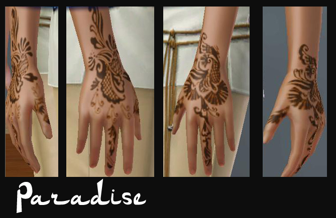 There are fours sets, the first one being made of three hand tattoos.