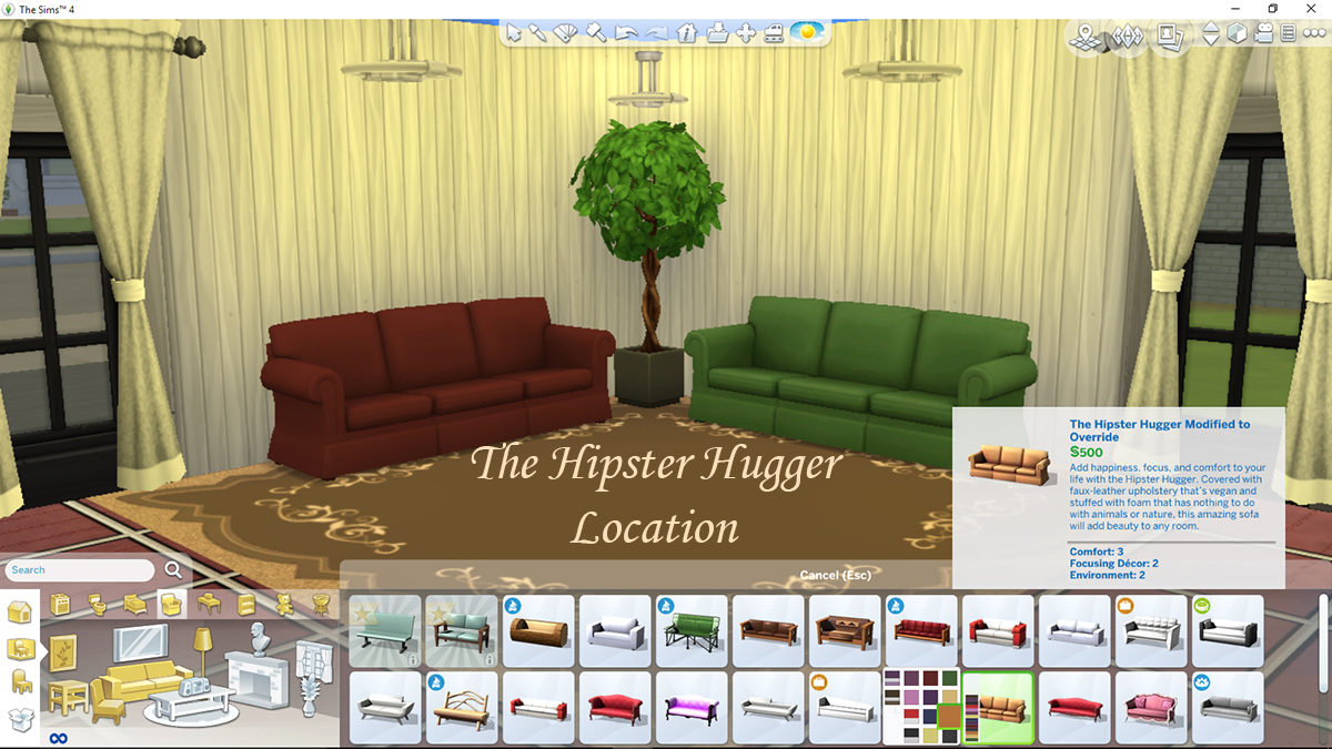 mod the sims hipster hugger sofa modified to override the rugs floors and painting and curtain recolours are also by me