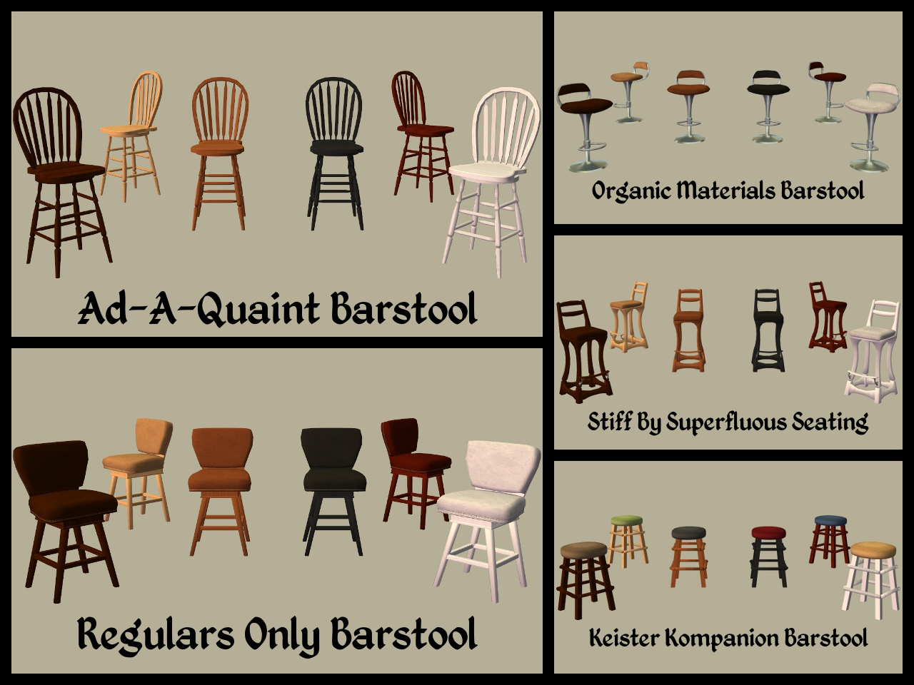 Mod The Sims Base Game Bar Stool Recolours