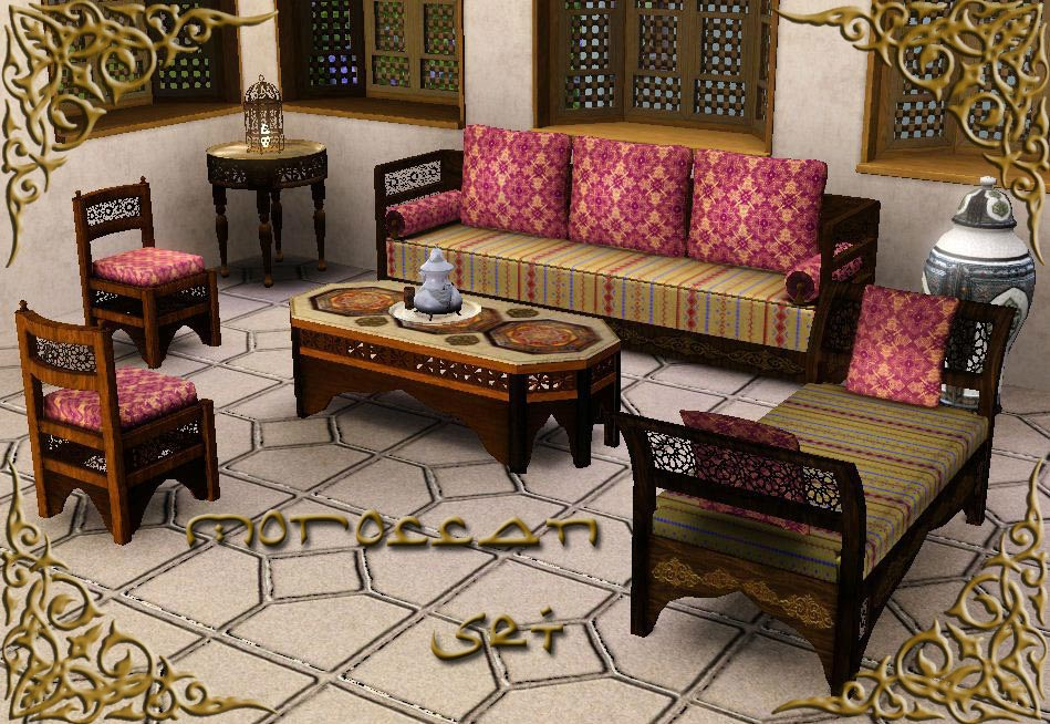Mod the sims the moroccan set theme multicultural for Moroccan living room furniture 02