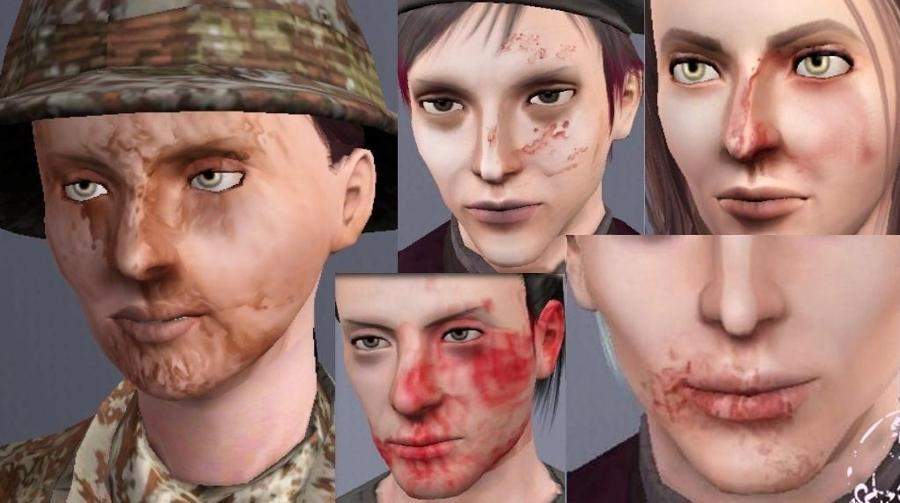 Mod The Sims - Truly Dirty/Bloody facemasks for both genders- 5 styles!