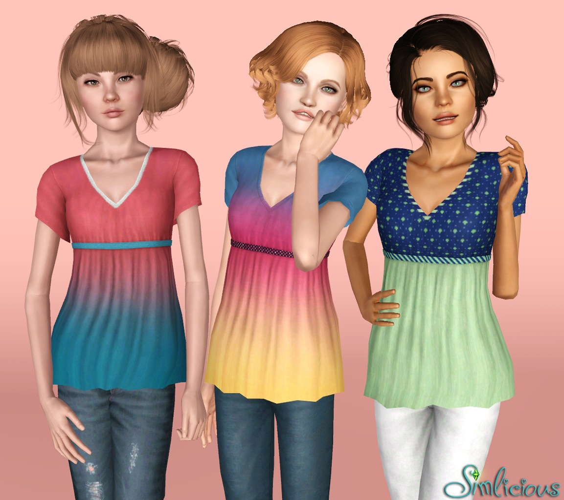 Mod The Sims - Long V-Neck Babydoll Tee for Teens and (Young) Adult ...