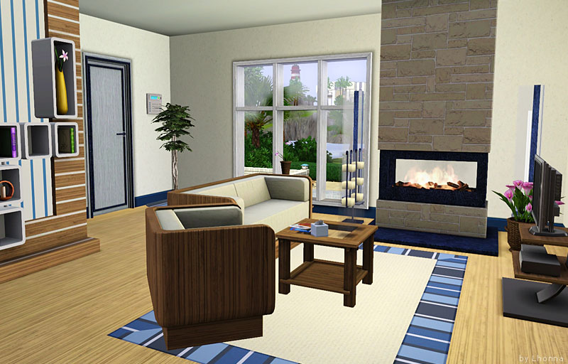 Mod the sims azure medium modern house in blue colors for Salon moderne sims 4