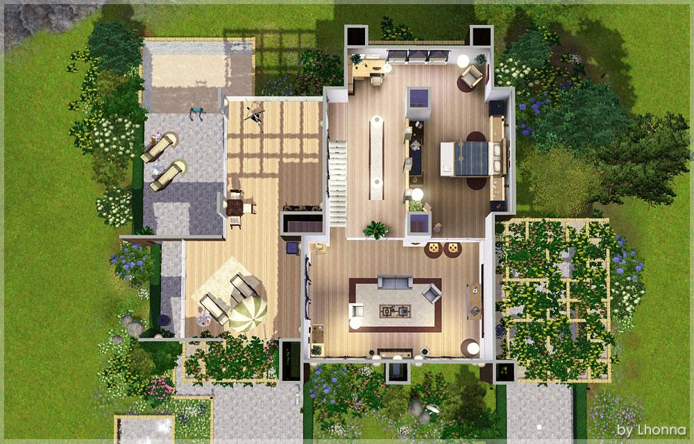 Mod the sims kassandra medium modern house for a couple for Medium modern house
