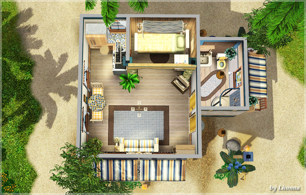 Mod the sims the water drop tiny beach cabin 10x10 for 10x10 house design